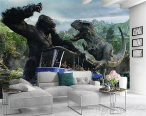 Custom Photo 3d Wallpaper Rainforest Dinosaur Gorilla King Kong TV Background Wall HD Digital Printing Moisture-proof Wall paper