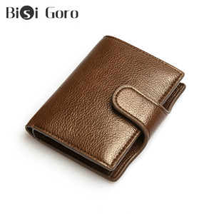 BISI GORO Hommes Vintage Pu Bouton Porte-standard en cuir Portefeuilles Protection antivol Banque Carte d'identité bourse Holder