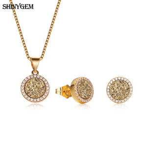 wholesale Bright Natural Crystal Gem Stone Jewelry Set Gold Round Glittering Druzy Earrings Necklace Party Jewelry Sets For Women