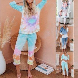 womens tasarımcı Ev giysi iki parça bir takım renkli tie-boyalı uzun pijama 45065