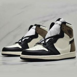 Nuovo Travis Scott 1 High 1s Sail Nero Testa di Mocha Cactus Jack Mens Basketball Shoes scarpe di moda all'aria aperta
