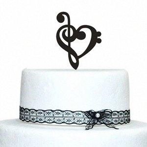 Música personalizada Nota primeros de la torta de boda con diseño del corazón de acrílico de la torta IXGR #