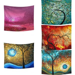 Tapestry Tree Print Wall Hanging Blanket Bedspread Beach Towel Background Cloth Carpet Living Room Decoration