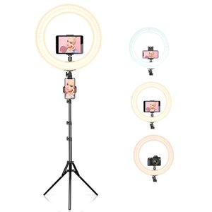 """18"""" del teléfono celular anillo anular LED Luz vivo Studio Lámpara de pie selfie Fotografía regulable 48W con el sostenedor del trípode móvil Maquillaje"""
