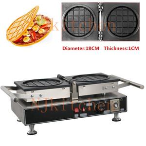 Elektrikli Yuvarlak Tuzlu Waffle makinesi, Yuvarlak Tutma Şeklinde Waffle makinesi, Dolgulu Waffle Bowl Yapma Makinası Demir Baker Pan Ekipmanları
