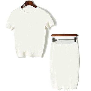 2020 novas mulheres da moda 'de O-pescoço curto carta manga da camisa jacquard tecer verão e malha de cintura alta saia lápis terno vestido twinset