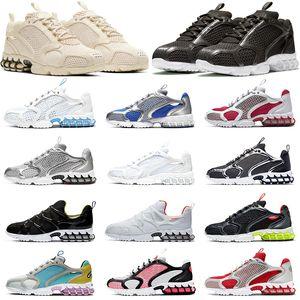 Nike Air Zoom Spiridon Cage 2 Stussy즈 확대 Spiridon 리테이너 타입 2 실행 신발 화석 블랙 그레이 레몬 독 메탈릭 실버 순수 백금은 스포츠를 여자 야외