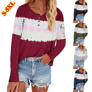 2020 Autumn & Winter New Womens Casual T-Shirts European and American Styles Women Tie-dye Printing Long-sleeved Panelled T-shirt Size S-5XL