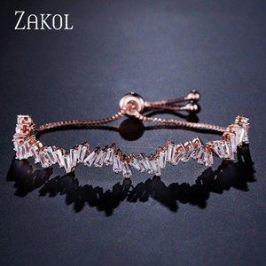 ZAKOL Moda Shinny Cubic Zircon Baguette ajustável Cadeia Bracelet Bangle Mulheres menina para jóia do casamento FSBP161 5M0T #