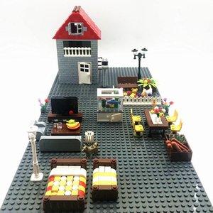 Кирпичи Строительство Рыба Запирание Забор Набор City Для номера Ужин Diy Tank Creator Bed Дети Blocks Мебель Мок игрушки части дома bbyeYT