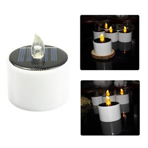 Linterna solar Luces de Té Velas - El parpadeo del LED de la lámpara de luz nocturna Electronic Solar - Plástico sin llama de la vela de Energía Solar