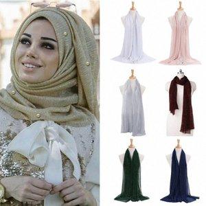 Mulheres Shimmer Hijab Faux pérolas com cercadura Crinkle Xaile muçulmana islâmica Turban Scarf I9qS #