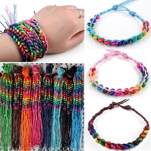 PINKSEE 50Pcs Lots Friendship Beads Handmade Bracelets Cuff Bangles For Women Girls Charm Jewelry Accessories Wholesale Y200918
