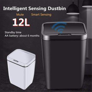 12L Автоматический датчик Dustbin Smart Sensor Trash Can Индукционная Waste Bin пластика PP Экологичное Dustbin Бытовая Trash Black Y200429