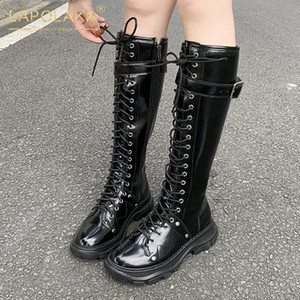 Lapolaka Brand New 2020 Square Heels Mid Calf Boots Woman Shoes Zip Up Comfortable cross-tied Motorcycle Boots Fashion