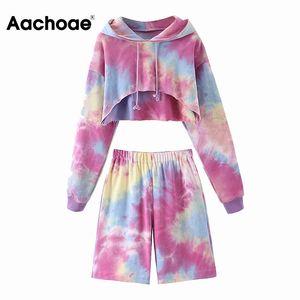 Aachoae Multicolor 2 Piece Set Женщины Streetwear Batwing рукавом с капюшоном Короткие топы + эластичный пояс Straight колен штаны Леди
