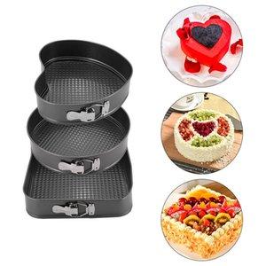3 PC / Set Non-Stick-Kuchen-Backen-Wannen-Quadrat Rund Herz-Form-Backen-Wannen-Set mit Feder abnehmbarer Boden Kuchen, die Werkzeuge AHC980