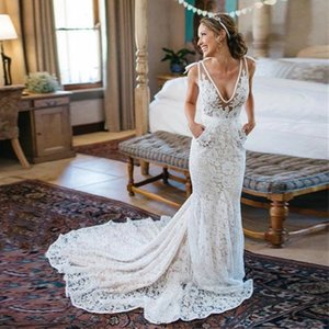 New Bohemia Backless Lace Pockets Mermaid Ivory Wedding Dress Court Train Beach Garden Bridal Gowns with Pocket