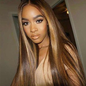 Ombre Natural Black 1b# Long Silky Straight Full Face Wigs with Baby Hair Heat Resistant Glueless Synthetic Lace Front Wigs for Black Women
