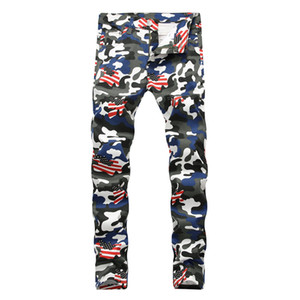 Mens Fashion Jeans Denim camouflage drapeau américain imprimé Jeans Mode Pantalon Slim Fit Denim couleur Painted
