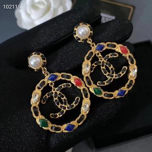 heißer Verkauf hohlen Ring Anhänger String Leder römische Muster Ohrringe Modetrend farbige Diamant-Ohrringe der neuen Art