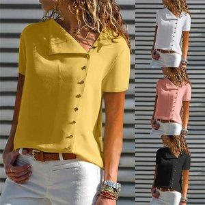 Tops Casual Женской одежды Летних женской дизайнер Polos Solid Color Printed V шея Кнопка украшение шифон