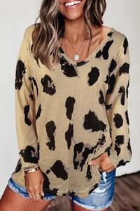 2020 Женская футболка Новый Leopard печати Длинные рукава футболки Большой размер Сыпучие All-матчевую тенниску для женщин