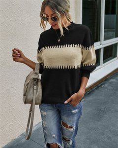 Womens Crewneck Color Block Patchwork Pullover Color Block Long Sleeve Ribbed Knit Oversized Pullover Sweaters S-XL 3Colors