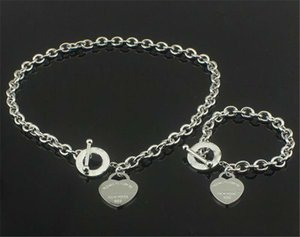 Top Birthday Christmas Gift T 925 Silver Love Necklace+Bracelet Set Wedding Statement Jewelry Heart Pendant Necklaces Bangle Sets 2 in 1