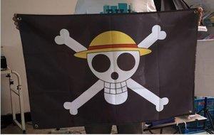 Inicio de la bandera de la decoración 60 * 90 cm de una pieza Luffy Banderas Bandera de alta calidad Negro pirata Decoración de la bandera de poliéster Banner