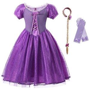Yofeel Weihnachtsmädchen Prinzessin REPANZEL Kleid Kinder Halloween Cosplay Kostüm Rapunzl Frock Kids Bänder SEQUNIS Party Kleider 0922