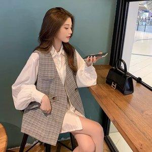 2020 Vêtements d'automne Coréen Frit Street Vest Shirt Hepburn Style Western Style Mature Style Mature Style De Chemise Vest Two-Pièce Suit Hxahz Hx