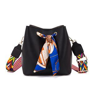Korean version of the bucket bag female 2020 autumn new scarf simple wild wide ribbon diagonal cross bag ladies shoulder tas