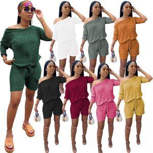 Frauen Sommer Herbst Kleidung 2 Zwei Teile Outfits Set Eine Schulter Kurzarm Top Mini Shorts Anzug Plus Größe Kleidung Mode Streetwear