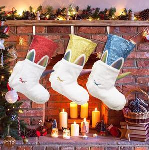 Regalos de Navidad que almacena Juguetes almacenajes Bolsa de Navidad peludo Decortive calcetín del árbol de Navidad casera colgante de las decoraciones de las lentejuelas del unicornio monederos totalizadores E9301