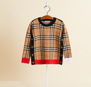 Designer Kids Plaid sweater 2020 children double-breasted knitted sweater pullover children patchwork color lattice long sleeve jumper A4044