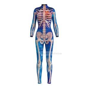 Women Full Sleeve Skeleton Cosplay Zombie Scary Costume Skull 3D Print Halloween Dress Jumpsuit Party constume sexy Bodysuit