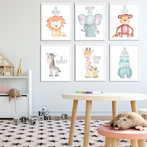 Pintura da lona Filhotes Pôsteres Safari Animais Folhas Cotação Pintura Imprimir Duche Baby Presentes Wall Art Decor Nursery