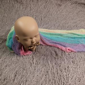 140 x 30 cm Neugeborene Fotografie Props bunt Wraps Stretch Knit Foto Rainbow Wraps Hammock Swaddling Soft-Wraps