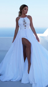 Mariage Bohemian Ivory Long Wedding Dress 2020 Sexy BOHO Wedding Gowns Scoop Spandex Lace Backless Chic Beach Bride Dresses Party
