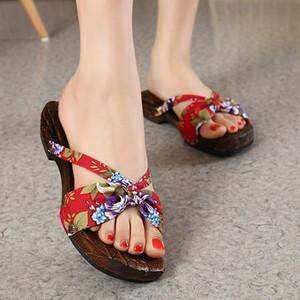 Japonesas zapatos de madera tradicionales trajes flip flop Mujer china Geta Zuecos Zapatillas Inicio Sauna al aire libre sandalias Cosplay Anime