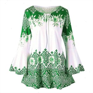 Women Vintage Shirt Fashion Womens Big Size Floral Printed Flare Sleeve Tunic Tops 5xl Plus Size Blouses For Women Camisa