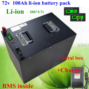 waterproof li ion 72v 100Ah Power lithium battery 100A BMS 7000w bike tricycle Forklift Motocycle AGV +10A charger
