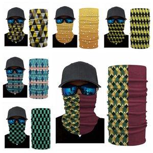 Magie Bandanas 3D Digital Print Masques rayé Plaid tête visage Foulards Sunblock Sport Masque extérieur Cyclisme ENTOURAGE Bandeau LJJP374
