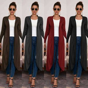 Womens Open Front Long Sleeve Casual Solid Outerwear Trench Coats Female Soft Plain Coat Casual Tops