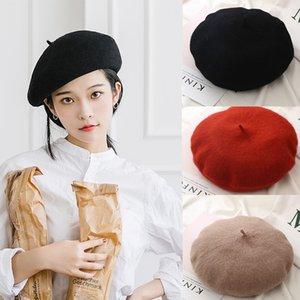Yeni Kadın Kış Şapka Bere Kadın Yün Pamuk Blend Cap 23 Renk New Woman Hat Caps Siyah Beyaz Gri Pembe, solcular De Mujer
