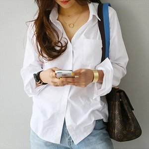 TongLord один карман белых женщин рубашка Женская блузка Топ с длинным рукавом Повседневная Turn воротник OL Стиль Женские Сыпучие Блузы
