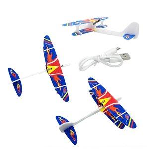 Neue Flugzeugladehandwerfenden Gleiter PU Kondensator Gleiter Elektromotor USB Hand werfenden Drehflugzeug PqzmW