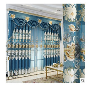 2020 hot sale Curtain fabric manufacturers direct sales bedroom living room curtain finished products customized European embroidery curtain