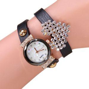 Top PU-Leder-Armband-Uhr-Frauen Rhinestone-Kristallsteine Herz Armbanduhr Frau Uhr-Mode-Mädchen Dame